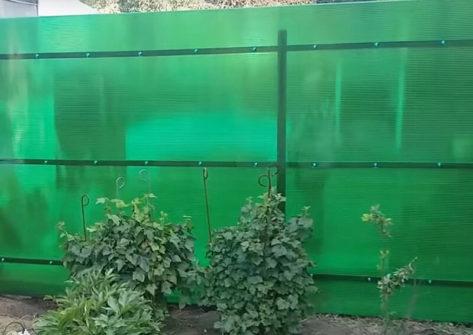 забор из поликарбоната на металлическом каркасе